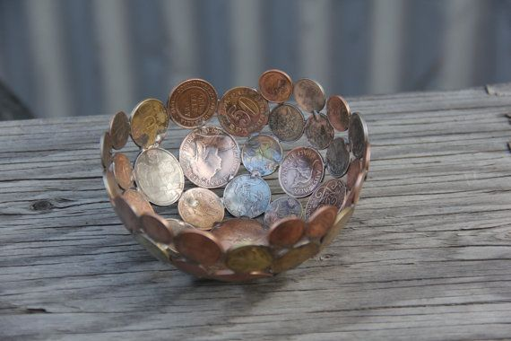 World coin bowl small 12 cm metal bowl metal sculpture by Moerkey