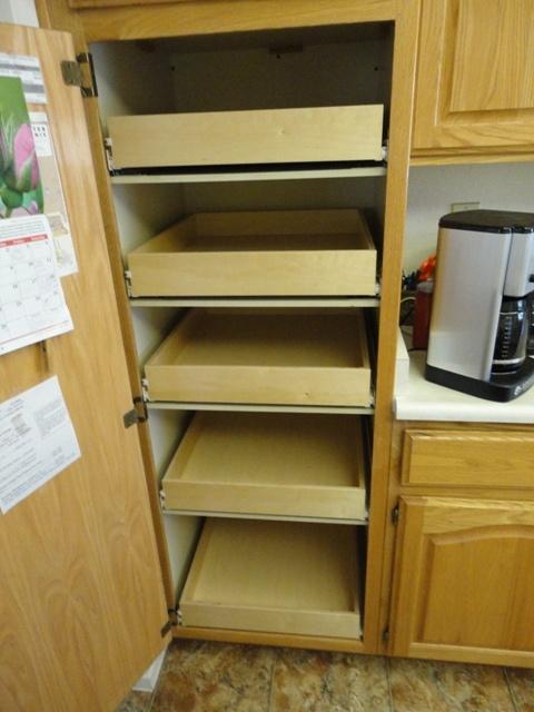 33 best pull out pantry shelves images on pinterest for Sliding pantry shelves for rv