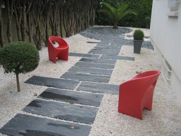 Dalles ardoise jardin devant Pinterest Gardens, Walkways and Yards