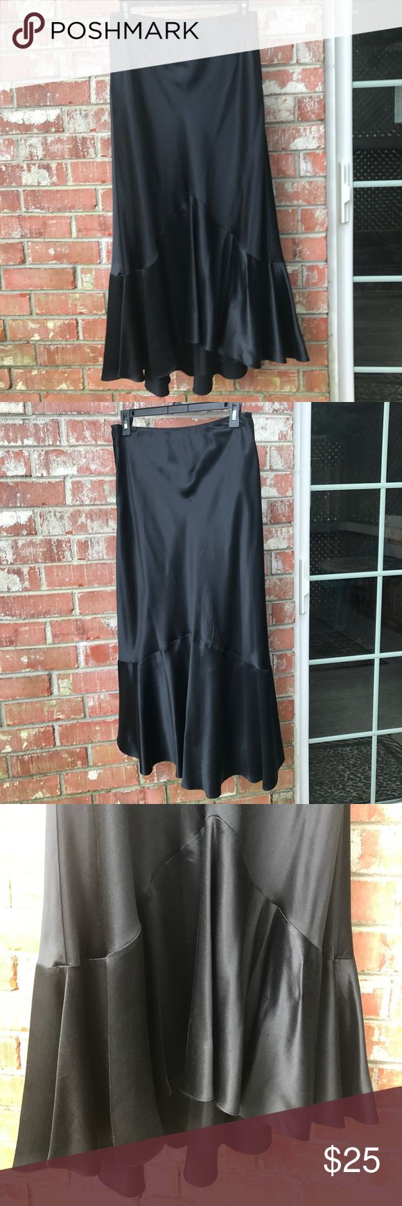 """RL Long Silk Trumpet Skirt LRL. 100% Silk. Feels like a polyester and almost wrinkle free. Fully lined. A small superficial snag at the bottom in the back. (Last pic) Side zip. 15"""" waist, 31"""" long in the front, 35"""" in the back. In overall excellent condition. Lauren Ralph Lauren Skirts"""