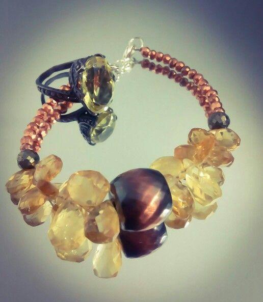 Citrin.lemon topaz.pyrite.copper