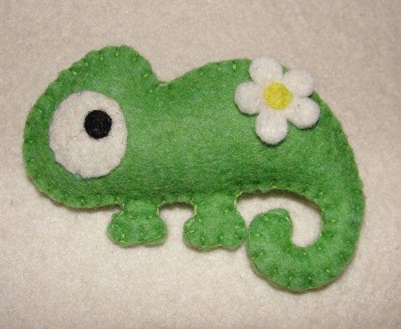 Wool Felt Chameleon Plushie Brooch Felt Brooch by NitaFelt on Etsy