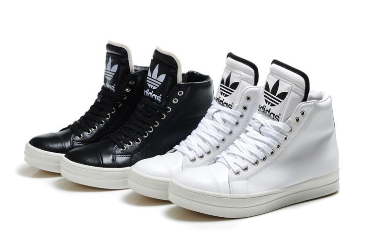 Adidas High Tops for Girls   Adidas Originals Big Tongue High Tops Zip-up Shoes White for men