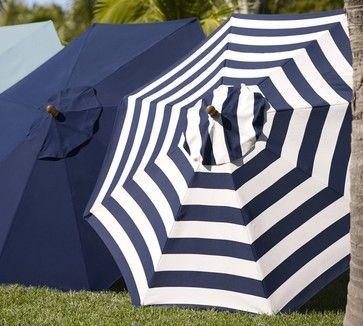 Sunbrella Round Umbrella, Awning Stripe, Navy traditional outdoor umbrellas