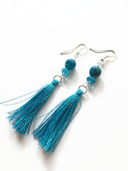 Aqua Tassel Earrings Aqua Agate Fringe Earrings by JulemiJewelry