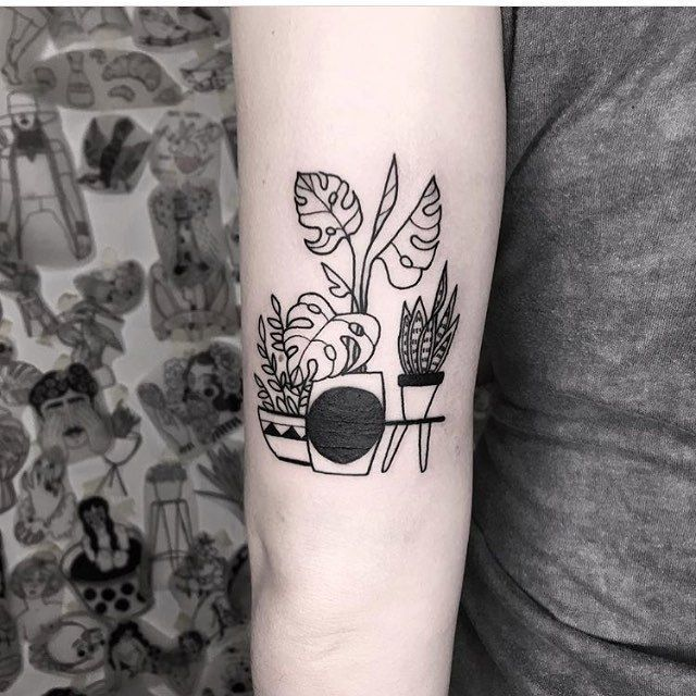 Minimalist Plants In Pots Tattoo By Dorca Borca Minimalist Plants In Pots Tatt Borca Dorca In 2020 Small Tattoos Minimalist Tattoo Tattoos