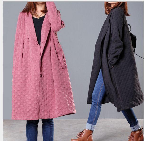 Womens Parka Coats Overcoats Long Trench Maxi Korean Linen Thick Outwear Cotton