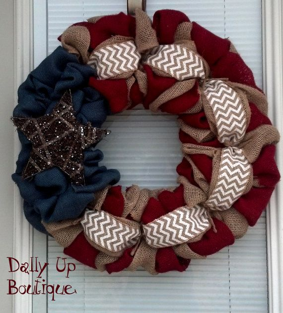 Burlap Wreath - 4th of July - White Chevron, Red, Natural and Blue Burlap - PatrioFourth of July - Burlap Wreath Decor - Door Wreath - on Etsy, $39.00