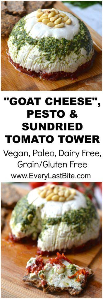 Goat Cheese, Pesto and Sundried Tomato Tower