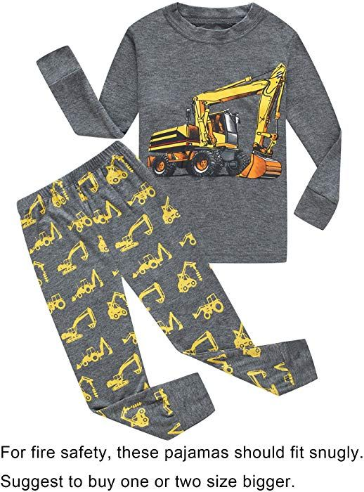 a89e55f5c2a0 Amazon.com  Family Feeling Tractor Little Boys Long Sleeve Pajamas ...