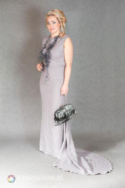 lniana szara sukienka - Estera-Grabarczyk - Sukienki ekologiczne