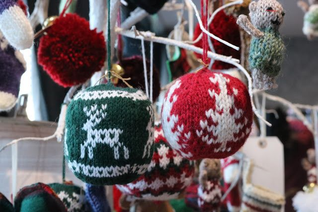 Homemade Knitted Christmas tree baubles. Aberdeen, Scotland.