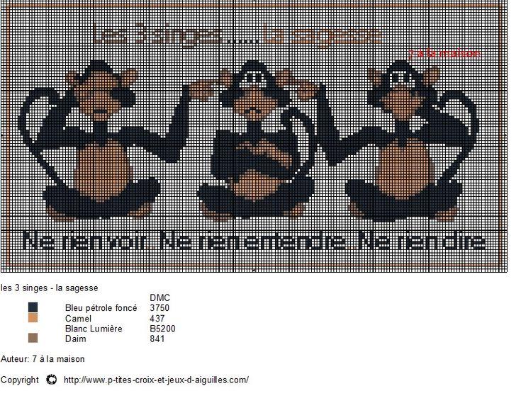animaux - animals - singe - point de croix - cross stitch - Blog : http://broderiemimie44.canalblog.com/