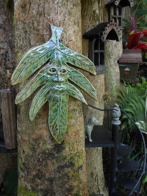 LeafMan Stoneware Garden Art By Uturn On Etsy, $58.00 · Garden SculpturesGreen  ManGarden ...