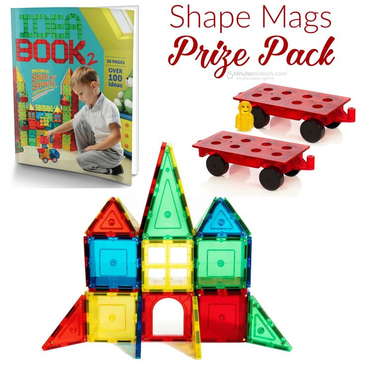 Enter to win a Shape Mags Prize Pack.  The winner will receive a Shape Mags 32 piece set, a Shape Mags set of 2 wheel bases and 16 figures, and a Shape Mags 36 page full color Idea Book. The giveaway ends August 27, 2016 and is open to any US residents who are 18 and older.