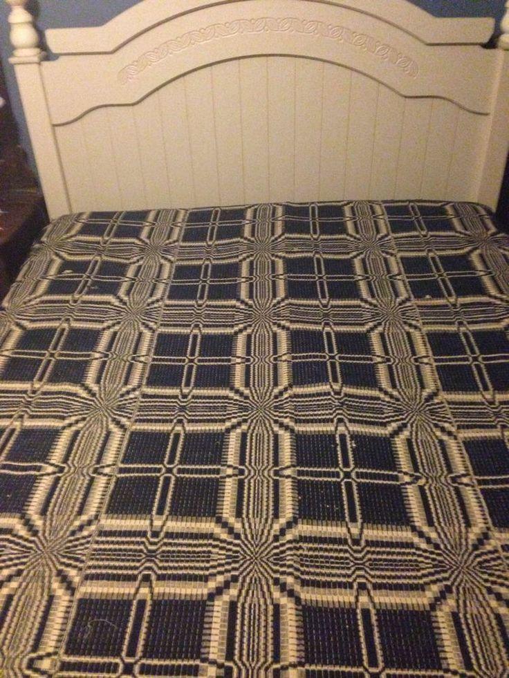Antique Wool Coverlet, Navy Beige, Early American Primitive Textiles Decir
