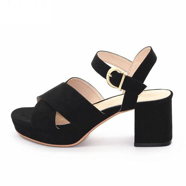 Летние Сандалии Женская Обувь 6 СМ Высокие Каблуки Черные Сандалии Женщин высокий Каблук Открытым Носком Босоножки На Платформе Женская Обувь Большой Размер F-009