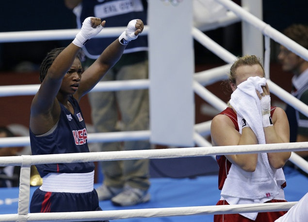 American teen Claressa Shields boxes to gold medal match -   Claressa Shields, left, defeated Kazakhstan's Marina Volnova in a middleweight 75-kg semifinal. (AP/Patrick Semansky)  Seventeen-year-old American female boxer Claressa Shields is one win away from a gold medal.