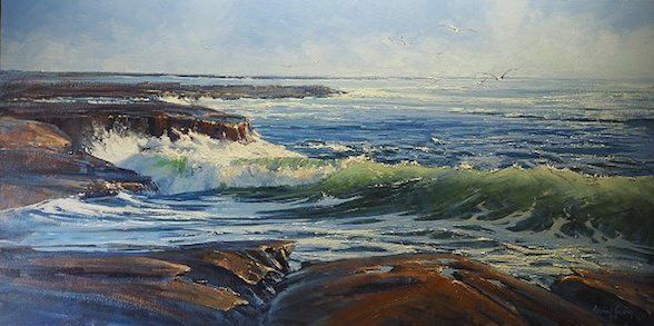 Michael Cawdrey - Seascape Awash With Morning Light Oil on canvas 30x60 inches