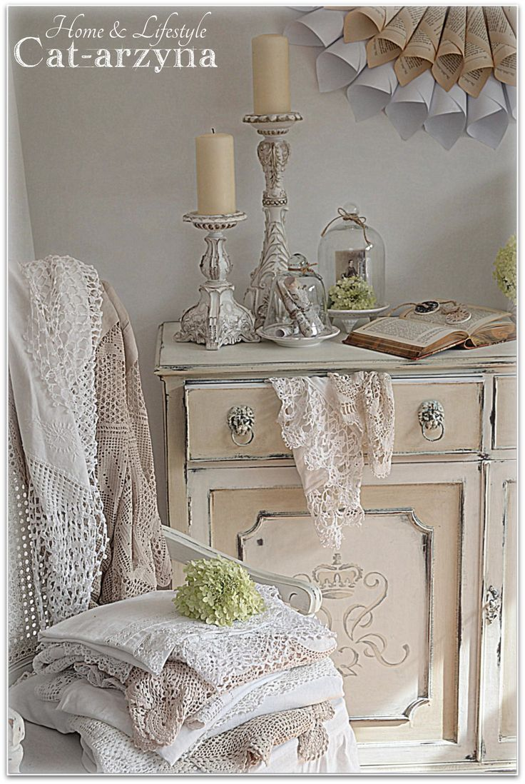 Cat-arzyna.THIS STUNNING VIGNETTE HAS BEAUTIFUL CABINET/BUFFET,CANDLE HOLDERS,MIRROR AND CHAIR THAT ARE CHALK PAINTED,DISTRESSED AND STENCILED TO PERFECTION.CHERIE
