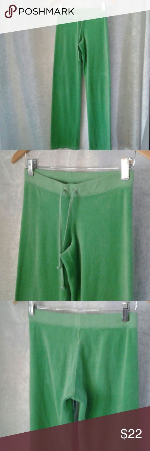 "Sale!Juicy Couture velour pants in lime green Lime green velour pants by Juicy Couture. Inseam measures 32"". Juicy Couture Pants Track Pants & Joggers"