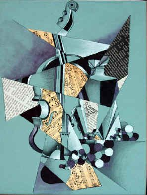 Have students cut drawing into geometric shape and then choose other paper to relate to meaning and collage with! cubism still life mixed media collage: High School