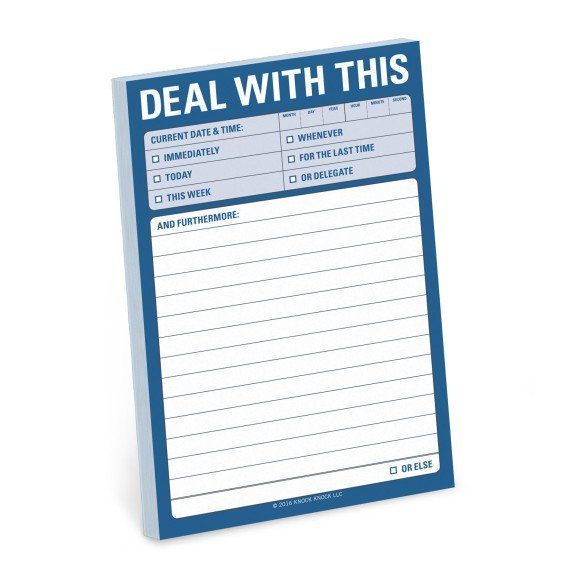 Knock Knock Deal With This Great Big Sticky Notes are funny office gifts, executive gifts, and gift ideas. Check off your to-do list with Knock Knock stuff.
