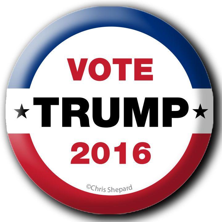 """VOTE TRUMP 2016!!! CAMPAIGN BUTTON PIN BADGE 2.25"""" POLITICAL REPUBLICAN GOP USA!"""