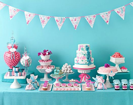 decoracion de fiesta color celeste rosa y blanco - Buscar con Google