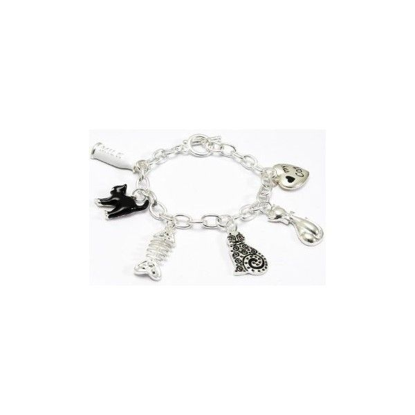 Cat Charm Bracelet Perfect for cat lovers everywhere this pretty... (48 PLN) ❤ liked on Polyvore featuring jewelry, bracelets, cat bangle, silver plated jewelry, cat charm bracelet, silver plating jewelry and charm bracelet