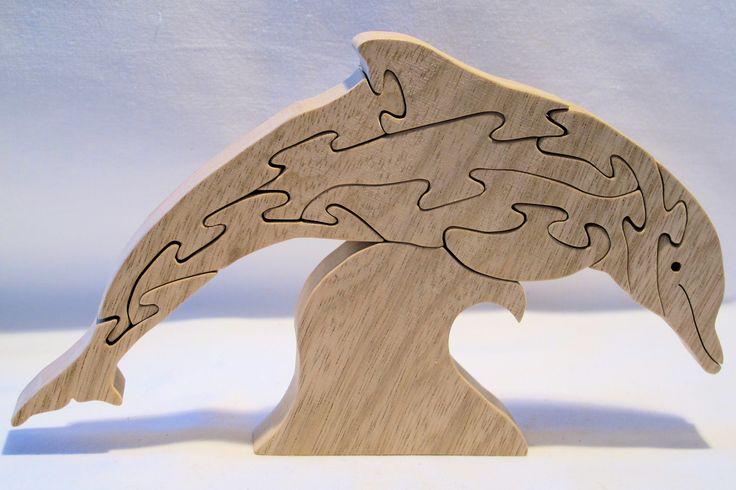 puzzle dauphin en bois exotique 10 pi ces d coup la scie chantourner fait main puzzles. Black Bedroom Furniture Sets. Home Design Ideas