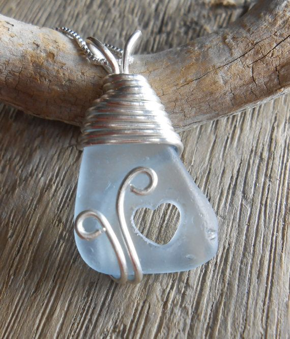 Genuine Sea Glass Jewelry  Hand Carved Heart by SeaFindDesigns