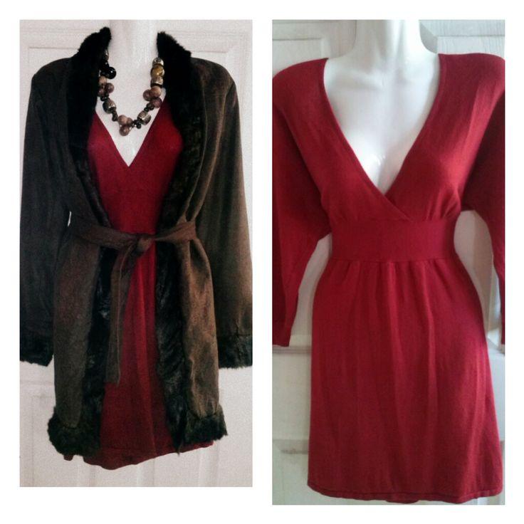 conjunto vestido lana y abrigo con piel