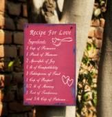 Recipe For Love Add zing to your gifting style with this exclusive and stylish wall note. This 8 Into 12 inches wall note is a perfect choice for bestowing it to your dear one. The ingredients engraved on this wall note makes it ostentatious. Blend love with joy, happiness, care, trust to bring a lasting smile. Shipping Status GiftsXpert - Product Deliver By Courier in 4 to 7 Days.