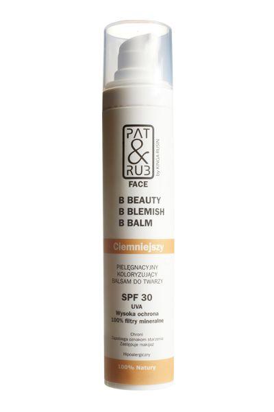 BBB Cream    Pielęgnacyjny Koloryzujący Balsam do Twarzy SPF 30 - Ciemniejszy       B - Beauty    B - Blemish    B - Balm     Chroni,   Zapobiega oznakom starzenia,   Zastępuje makijaż      Hipoalergiczny - 100% NATURY