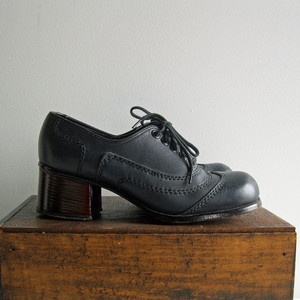 1960s Navy Lace Up Oxford Heels, $34, now featured on Fab.