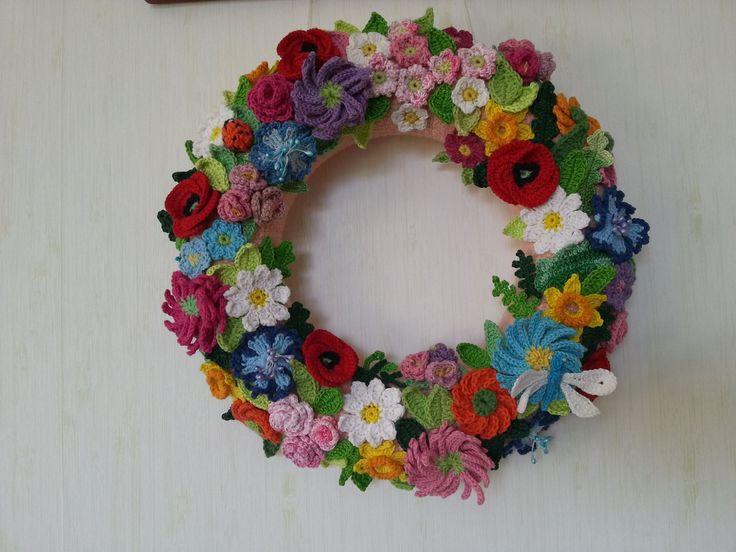 My spring-summer wreath crochet. #mycrochet