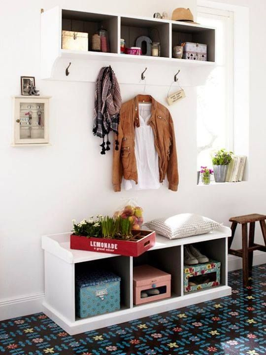 bench and coat hook idea for front entrance hallway would make area above hooks a shelf for photos rather than storage and would hide storage space in
