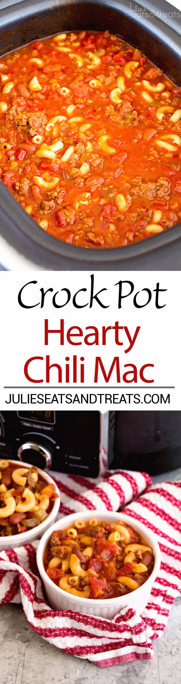 Crock Pot Hearty Chili Mac Recipe ~ Delicious Chili Slow Cooked All Day Long and Then Finished Off with Pasta! Hearty, Comforting Meal for Dinner! ~ http://www.julieseatsandtreats.com
