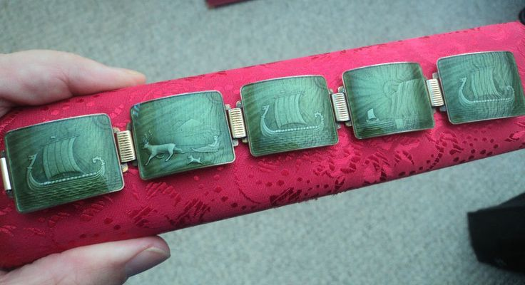 Fabulous Norwegian Silver Enamel Scenic Bracelet - N.M. Thune of Oslo Norway