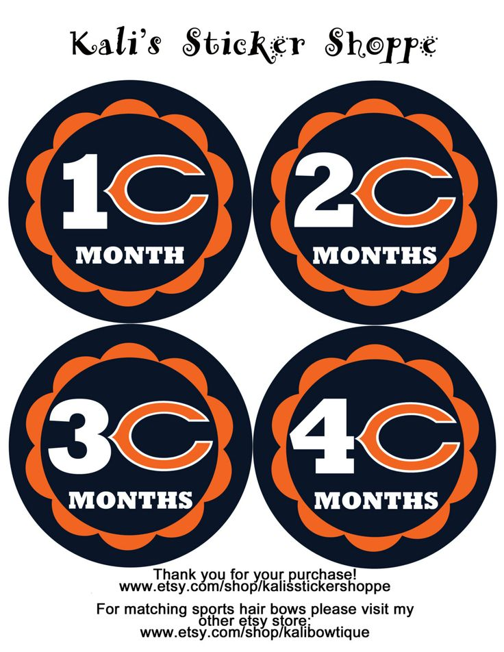Chicago Bears Baby Monthly Onesie Bodysuit by KalisStickerShoppe, $10.00
