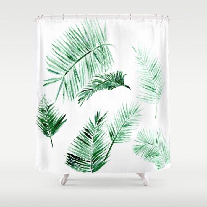 Palm Leaf Shower Curtain, tropical curtain, palm bathroom, palm leaf shower, modern shower curtain, palm shower curtain, tropical shower by lake1221 on Etsy https://www.etsy.com/listing/464138779/palm-leaf-shower-curtain-tropical