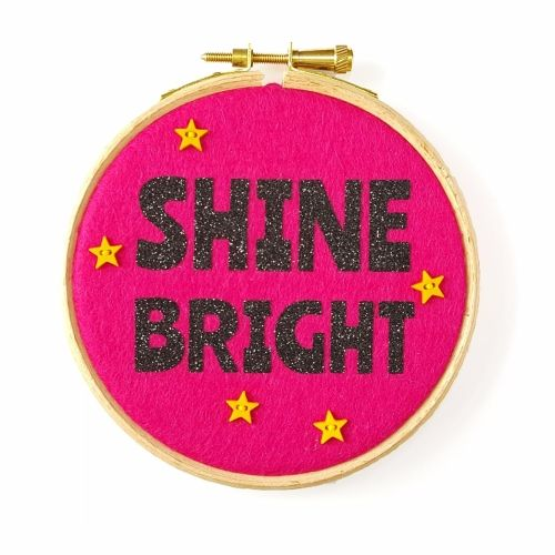 Shine Bright Embroidery Hoop Wall Art