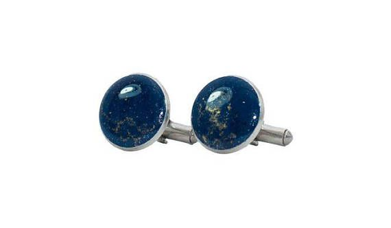 Coppia di Gemelli Blu e Oro in resina epossidica e acciaio inox made in Italy