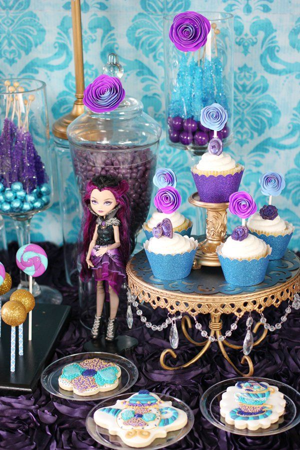 Trend alert ever after high party theme dessert table for B day party decoration ideas