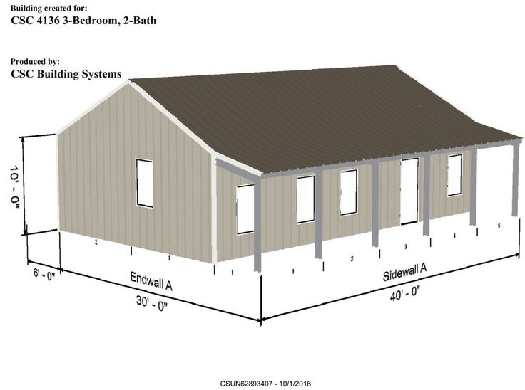 Steel House Kit -CSC 4136- 3 Bedroom - 2 Bath - 2 Porches - 1032 SF Living Area #CSCBuildingSystems
