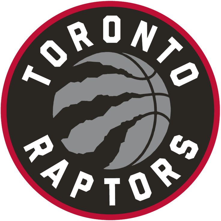Toronto Raptors Primary Logo (2016) - A silver basketball with claw marks, team name around it in white on black. Circle outlined in red