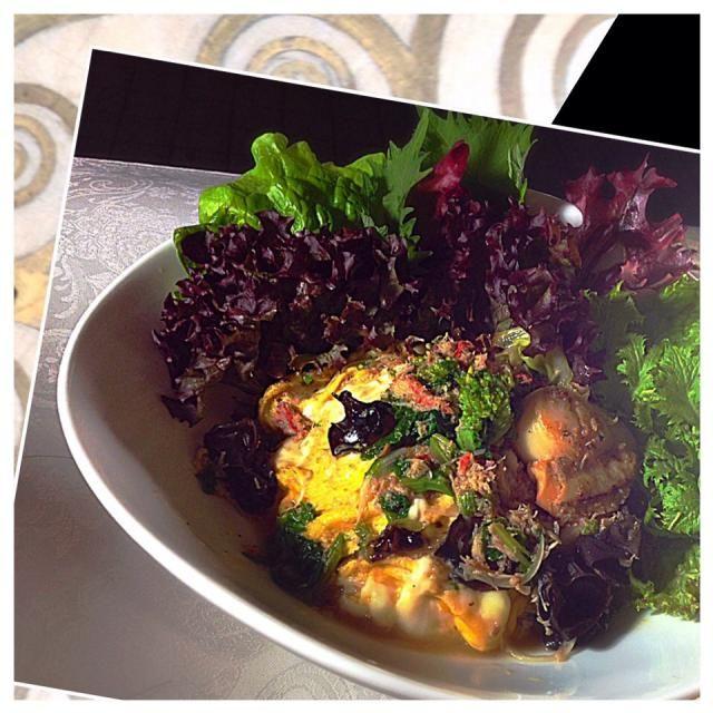 中華風の餡がかかったオムライス。 菜の花、キクラゲ、タマネギ、蟹とか。 隣の家族うるさい!音楽聴こう(こっちに苦情言ってくんのが信じらんないね) オムライス簡単なんで野菜餡は在庫処理に良さそう - 109件のもぐもぐ - 天津飯 by AsFlowers