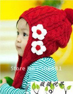 Вязаный шарф + шляпа детские прекрасный маленький цветок шляпа красный / khaiki / коричневый 2 шт./лот
