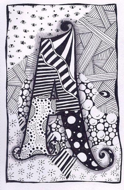 Zentangle, Letter A, Zebra Letters, name, bunting. £3.50, via Etsy.
